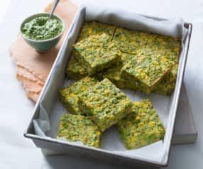 Mashed pea and corn slice