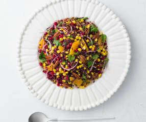 Salada de milho e arroz preto