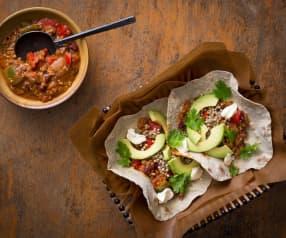 Špaldovo-pohankové tortilly s chilli con carne