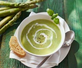Chřestová polévka s rukolou a bazalkou