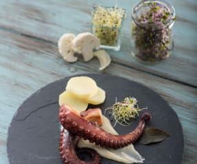 Pulpo a la parrilla con puré  y mayonesa de wasabi