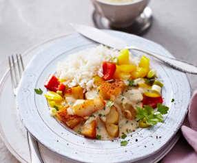 Seelachs mit Reis und Paprika