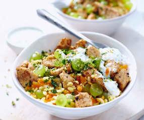 Kuřecí pilaf se zeleninou a mandlemi