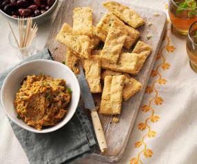 Pain aux pois chiches et dip au curry de légumes