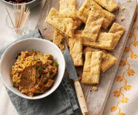 Pan de garbanzo con dip de curry