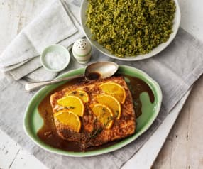 Sinaasappel zalm met broccoli 'couscous'