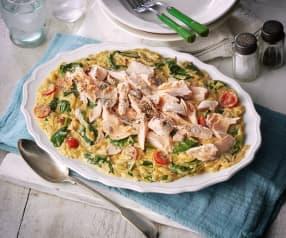 Orzo pasta met zalm en spinazie