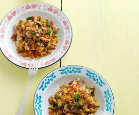 Salada de frango e vinagreta de framboesa