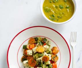 Sopa e tofu com legumes