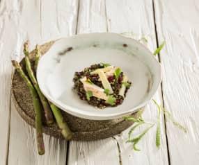 Linsensalat mit Räucherforelle und Granatapfel