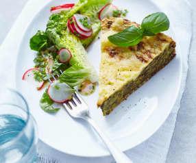 Špenátový koláč s tvarohem a sýrem