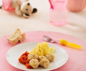 Klopsiki z indyka z purée pomidorowym