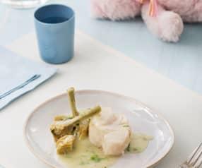 Merluza en salsa verde con corazones de alcachofa