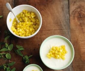 Mousse com ananás e hortelã