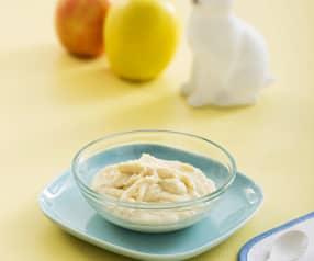 Kleik z kaszą manną, jabłkiem i mlekiem