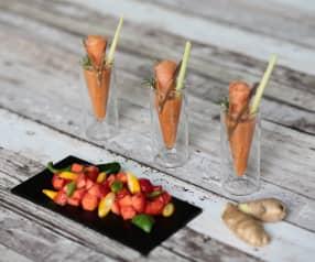 Gazpacho di frutta e  verdura con salmone marinato (di Sebastiano Rovida)