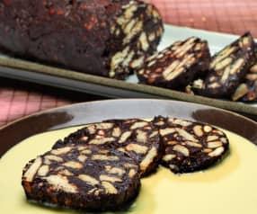 Salame di cioccolato in crema inglese