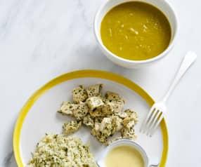 Sopa e frango com arroz