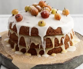 Gooseberry Curd Layer Cake with Elderflower Icing