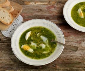 Zuppa di coriandolo, baccalà e uova