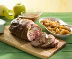 Cabezada de cerdo con manzanas especiadas