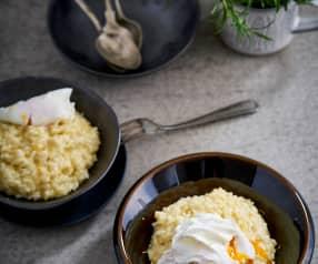 Risoto de limão e rosmaninho com ovo escalfado