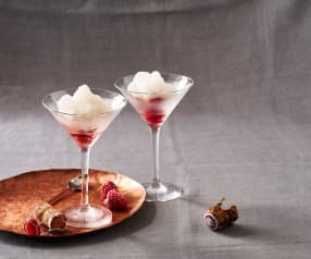 Champagner-Granita mit Himbeeren