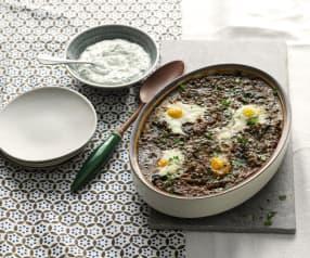 Uova e lenticchie con salsa al caprino
