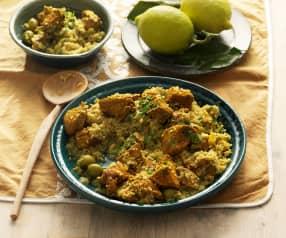 Cuscús marroquí de pollo con limón y aceitunas