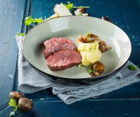 Rinderfilet mit Pastinakenstampf und glasierten Maroni
