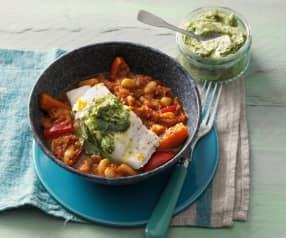Fischfilet mit Chakalaka-Gemüse und Dill-Butter