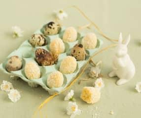 Vajíčka z bílé čokolády obalovaná v kokosu