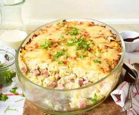 Leberkäse-Sauerkraut-Auflauf