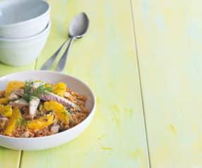 Ensalada de quinoa con caballa y naranja