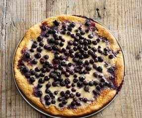 Pizza de mascarpone y arándanos