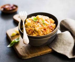 Risotto artichauts, tomates séchées et parmesan