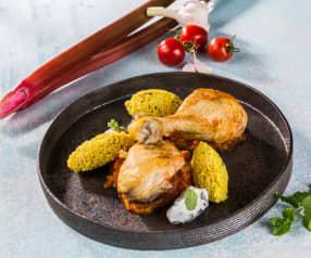 Henderl in Rhabarber-Tomaten- Sauce mit Hirsenocken und Minzjoghurt