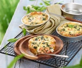 Clafoutis aux épinards, saumon et féta