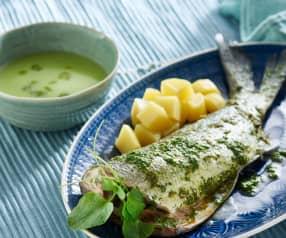 Menü: Salat-Cremesuppe, Seebarsch an einer Brunnenkresse-Sauce und Kartoffeln