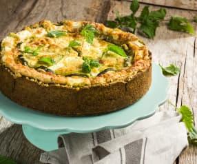 Brennnessel-Cheesecake mit Spargel
