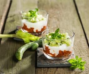 Paradeisergranita mit Sellerie-Gurken-Salat