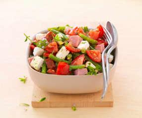 Salade de haricots verts, menthe, feta et palette