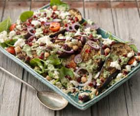 Roasted Aubergine Salad with Tahini Dressing