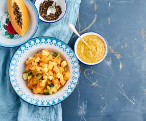 Salada de pepino e papaia com vinagreta