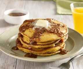 Pumpkin Pancakes with Praline Maple Syrup