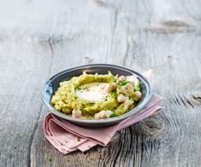 Lauch-Kartoffelstock mit Brätkügeli-Sauce
