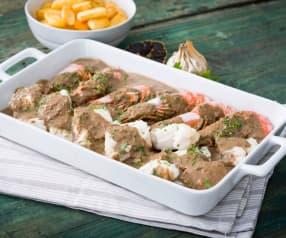 Suquet de pescado y gambones con ajo negro