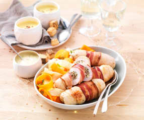 Ballotines de poulet farcies, tagliatelle de légumes et velouté au riesling