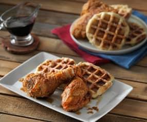 Pollo frito y gofres