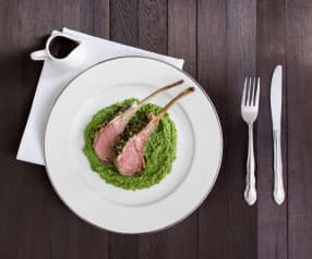Lamb cutlets with spinach and pea purée